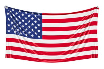 USA flag hanging on the wall, 3D rendering