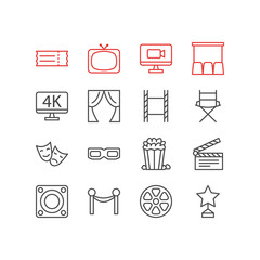 Vector Illustration Of 16 Film Icons. Editable Pack Of Shooting Seat, Loudspeaker, Hall And Other Elements.
