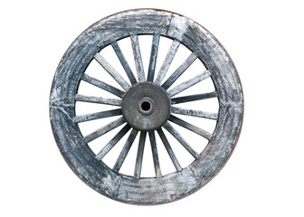 old wooden wheel isolated