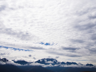 Andes mountains with clouds