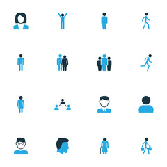 Human Colorful Icons Set. Collection Of Jogging, Old, Contact And Other Elements. Also Includes Symbols Such As Businessman, Old, Contact.