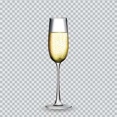 Naturalistic glass with festive champagne on transparent backgro