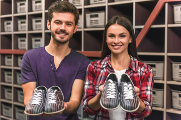 Couple with bowling shoes