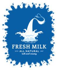 Milk icon. Milk, yogurt or cream blot. Milk logo template