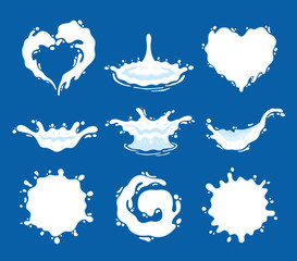 Milk, yogurt or cream splashes and blots. Milk shape creative illustration