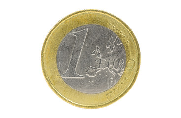 Closeup of 1 euro coin on white background