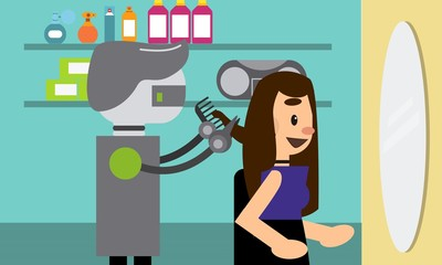 Domestic robot hairdresser cutting hair of a young woman in beauty salon. Robot professional futuristic concept illustration vector.