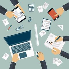 Brainstorming concept. Business meeting. Teamwork. Work desk. Flat vector illustration.