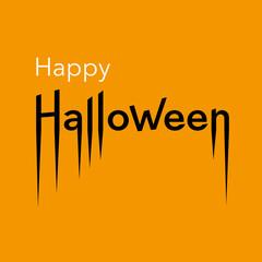 Happy Halloween card. Lettering of Happy Halloween on orange background. Vector Illustration