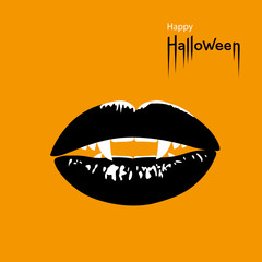 Happy Halloween card. Vampire's mouth with sharp fangs on orange Halloween background. Vector Illustration