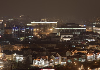 Night townscape of Minsk, view from hotel Belarus