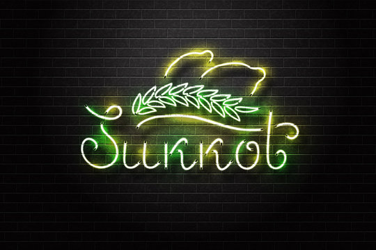 Vector realistic isolated retro sign of Sukkot for decoration and covering on the wall background. Concept of Happy Sukkot in Israel.