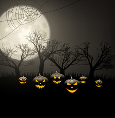 Halloween background with pumpkins and moon.