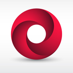 Infinity loop circle with bright red colors with shadow. Illustration of a silky modern style logotype with colorful trendy design