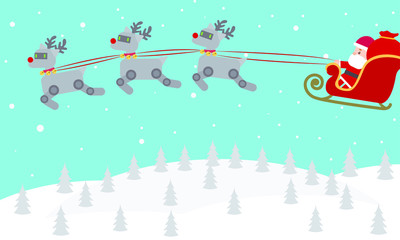 Santa driving his robot reindeer sleigh on winter night. Personal household robot futuristic concept illustration vector.