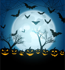 Halloween background with pumpkins and bats.
