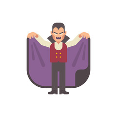 Vampire attacking his prey. Male vampire in a cape. Halloween character flat illustration