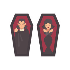 Two vampires sleeping in coffins. Man in a black cape, girl in a gothic dress. Halloween character flat illustration