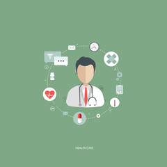 Vector illustration in a modern flat style, health care concept. A doctor in uniform with stethoscope and first aid kid. On line consultation. Flat vector illustration.