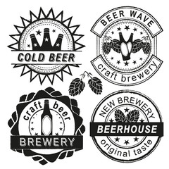 Vintage brewery logo, emblems and badges vector set.