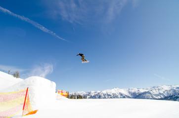 ski man is flying