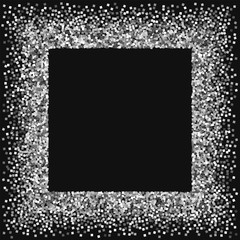 Silver glitter. Square messy frame with silver glitter on black background. Dazzling Vector illustration.