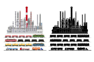 Oil petrochemical refinery plant, silhouette, vector, isolated