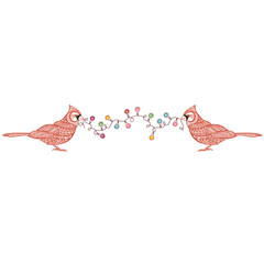 Birds cardinal with a festive garland with colored lights.Vector Christmas illustration, element for design on a white background.
