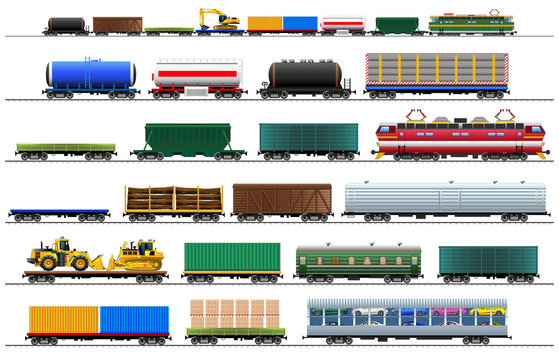 Cargo train cars set, isolated on white, vector