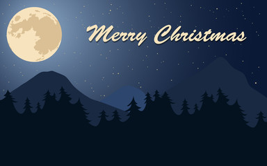Merry Christmas poster. Moon, stars and trees. Flat vector illustration.