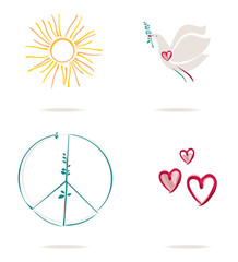 Set of four vector concept icons of a hearts and sun and peace symbol and pigeon with green twig.