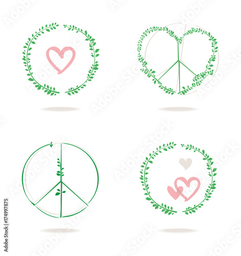 Set Of Four Vector Icons Of A Round Wreath And Peace Symbol With