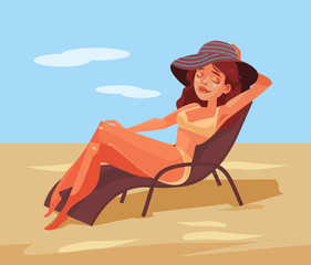 Happy smiling woman lying on chair and sunbathing. Vector flat cartoon illustration