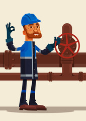 Happy smiling oilman worker man character showing ok sign. Vector flat cartoon illustration