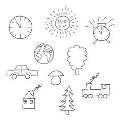 Vector set of basic simplified miscellaneous hand drawn icons