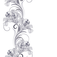 Hand-drawing monochrome seamless floral background with flowers lily. Element for design.