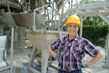 Portrait of woman at cement factory