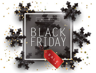 Black Friday Sale Poster with Shiny confetti, snowflakes, price tag, on White Background with Square Black Frame. Holiday Sale gift card, shopping card banner discount Vector leaflet.