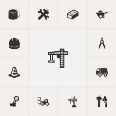 Set Of 13 Editable Structure Icons. Includes Symbols Such As Elevator, Trolley, Construction Tools And More. Can Be Used For Web, Mobile, UI And Infographic Design.