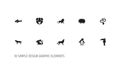 Set Of 10 Editable Zoo Icons. Includes Symbols Such As Rat, Shark, Serpent And More. Can Be Used For Web, Mobile, UI And Infographic Design.