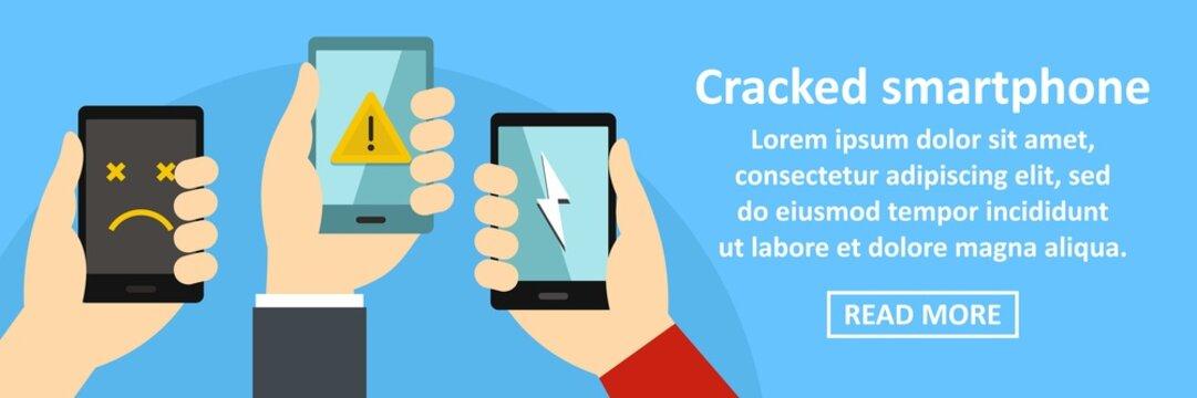Cracked smartphone banner horizontal concept
