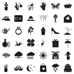 Flower icons set, simle style