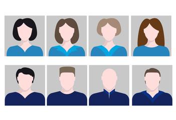 set avatar silhouette people woman man portrait