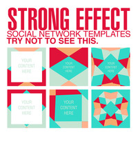 Facebook and Instagram colorful templates in red, turquoise, white and orange, strong effect, impossible not to see. Vector design, abstract shapes.