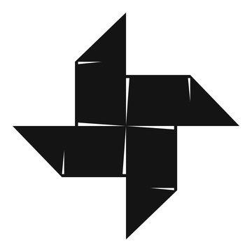 Origami shuriken icon, simple black style
