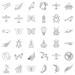 Airship icons set, outline style