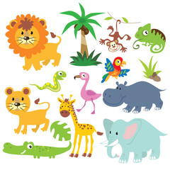 Jungle animals vector cartoon illustration