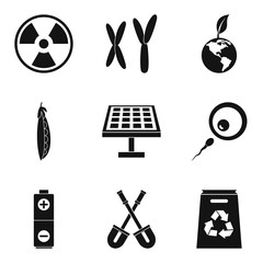 Clean city icons set, simple style