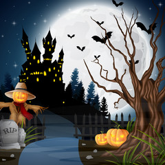 Halloween background with scarecrow and pumpkins