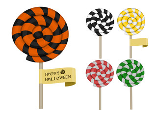 set of isolate colorful swirl lollipop on transparent background